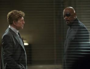 Robert Redford as Alexander Pierce & Samuel L. Jackson as Nick Fury
